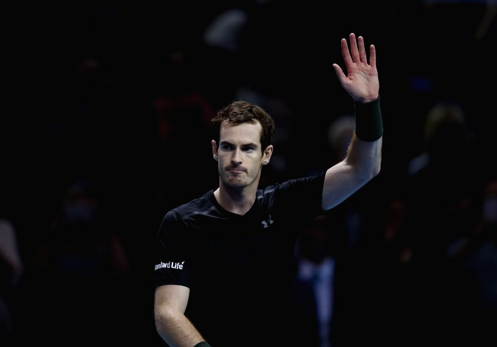 LONDON, Nov. 19, 2016 - Andy Murray of Britain waves to the spectators after the group match with Stan Wawrinka of Switzerland at the 2016 ATP World Tour Final at O2 Arena in London, Britain, on Nov. ...