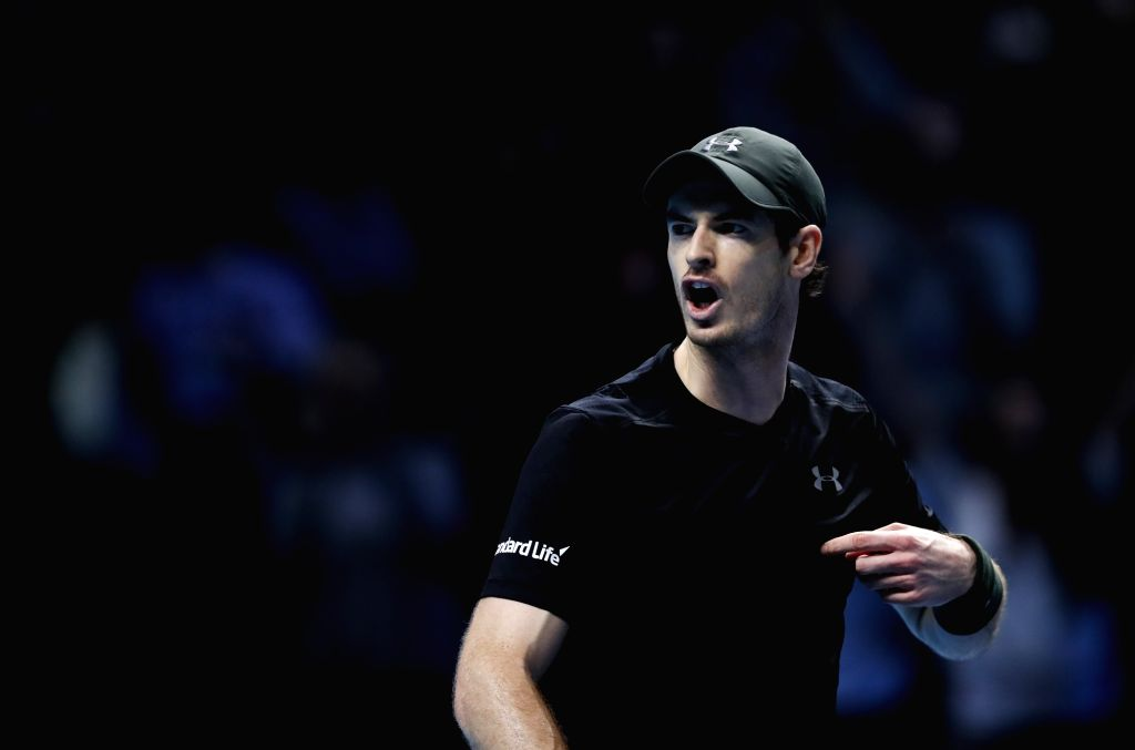 LONDON, Nov. 20, 2016 - Andy Murray of Britain reacts during the singles semifinal with Milos Raonic of Canada at the 2016 ATP World Tour Finals at the O2 Arena in London, Britain on Nov. 19, 2016. ...