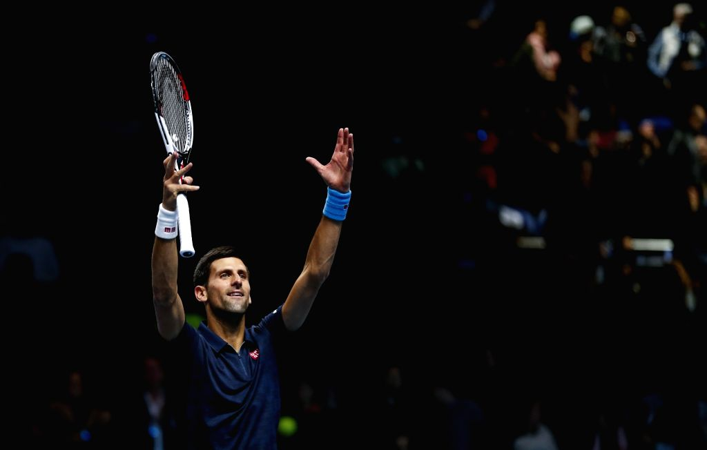 LONDON, Nov. 20, 2016 - Novak Djokovic of Serbia celebrates after the singles semifinal with Kei Nishikori of Japan at the 2016 ATP World Tour Finals at the O2 Arena in London, Britain on Nov. 19, ...