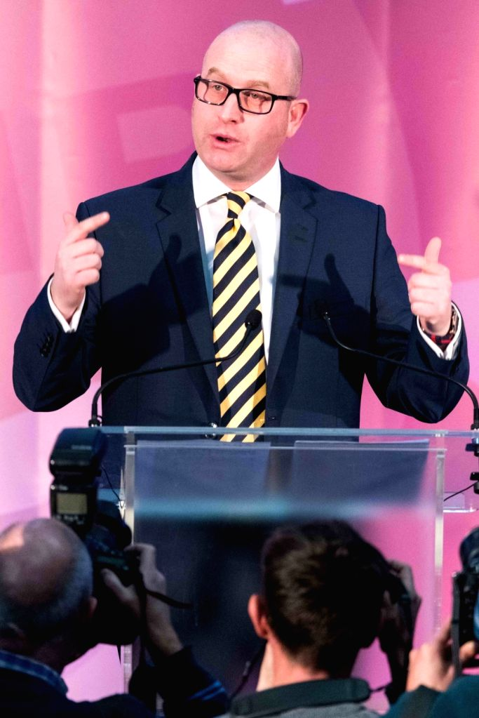 LONDON, Nov. 28, 2016 - New UKIP leader Paul Nuttall makes a speech on Nov. 28, 2016, in London, Britain. Member of European Parliament (MEP) Paul Nuttall was named Monday as the new leader of the ...