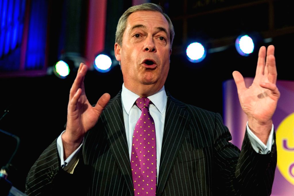 LONDON, Nov. 28, 2016 - Outgoing UKIP leader Nigel Farage makes a speech before congratulating newly elected Paul Nuttall on Nov. 28, 2016, in London, Britain. Member of European Parliament (MEP) ...