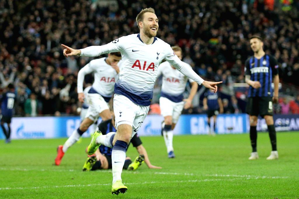 LONDON, Nov. 29, 2018 - Tottenham Hotspur's Christian Eriksen celebrates scoring during the UEFA Champions League Group B match between Tottenham Hotspur and Inter Milan at Wembley Stadium in London, ...