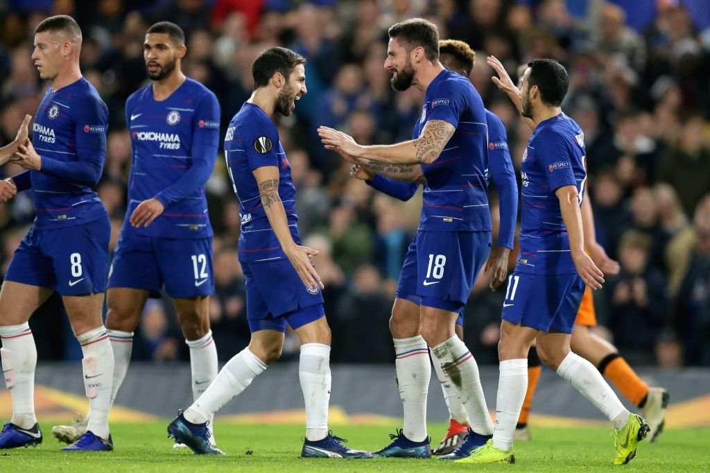 LONDON, Nov. 30, 2018 - Chelsea's Olivier Giroud (3rd R) celebrates scoring with teammates during the UEFA Europa League Group L match between Chelsea and PAOK at Stamford Bridge in London, Britain ...