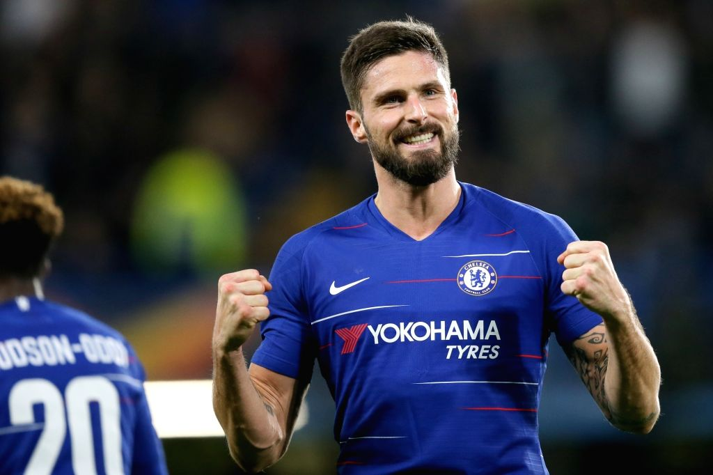 LONDON, Nov. 30, 2018 - Chelsea's Olivier Giroud celebrates scoring during the UEFA Europa League Group L match between Chelsea and PAOK at Stamford Bridge in London, Britain on Nov. 29, 2018. ...