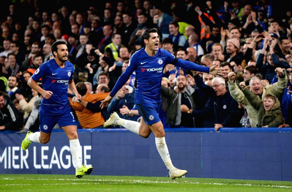 LONDON, Nov. 5, 2018 - Alvaro Morata (R) of Chelsea celebrates during the English Premier League match between Chelsea and Crystal Palace at Stamford Bridge Stadium in London, Britain on Nov. 4, ...