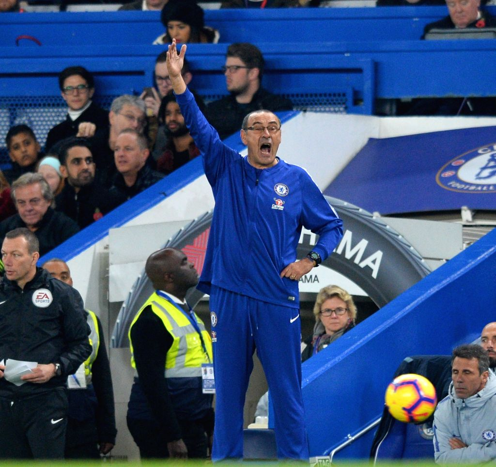 LONDON, Nov. 5, 2018 - Chelsea's manager Maurizio Sarri instructs during the English Premier League match between Chelsea and Crystal Palace at Stamford Bridge Stadium in London, Britain on Nov. 4, ...