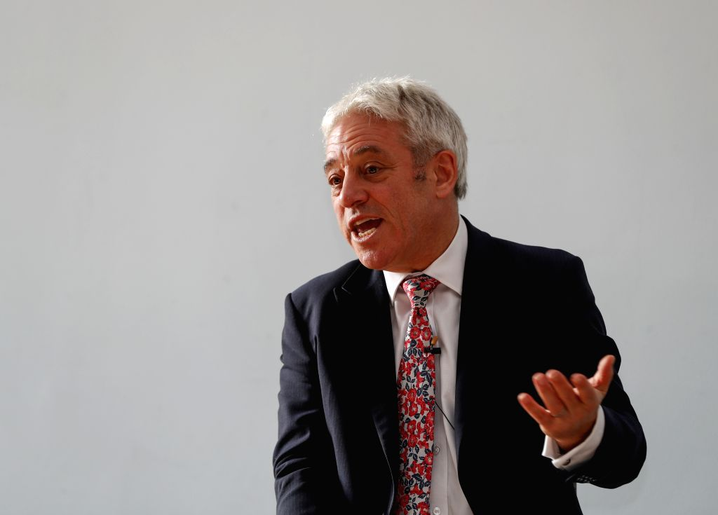 LONDON, Nov. 7, 2019 (Xinhua) -- John Bercow gestures during the Foreign Press Association (FPA) briefing in London, Britain on Nov. 6, 2019. Labor MP Lindsay Hoyle was elected on Monday to succeed John Bercow as Speaker of Britain's House of Commons
