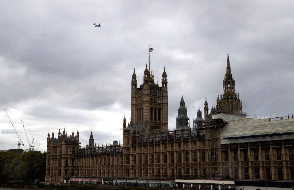 LONDON, Oct. 18, 2019 - Photo taken on Oct. 17, 2019 shows the Houses of Parliament in London, Britain. The European Union and Britain have reached a new Brexit deal, President of the European ...