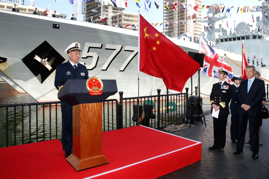 LONDON, Oct. 4, 2017 - China's 26th naval escort fleet commander Wang Zhongcai (1st L) speaks during the welcoming ceremony in London, Britain, on Oct. 3, 2017. China's 26th naval escort fleet ...