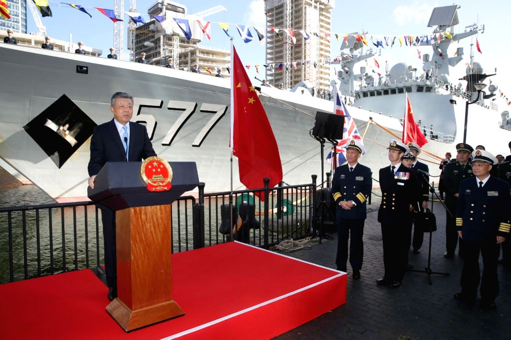 LONDON, Oct. 4, 2017 - Chinese Ambassador to Britain Liu Xiaoming (1st L) speaks during the welcoming ceremony of China's 26th naval escort fleet in London, Britain, on Oct. 3, 2017. China's 26th ...