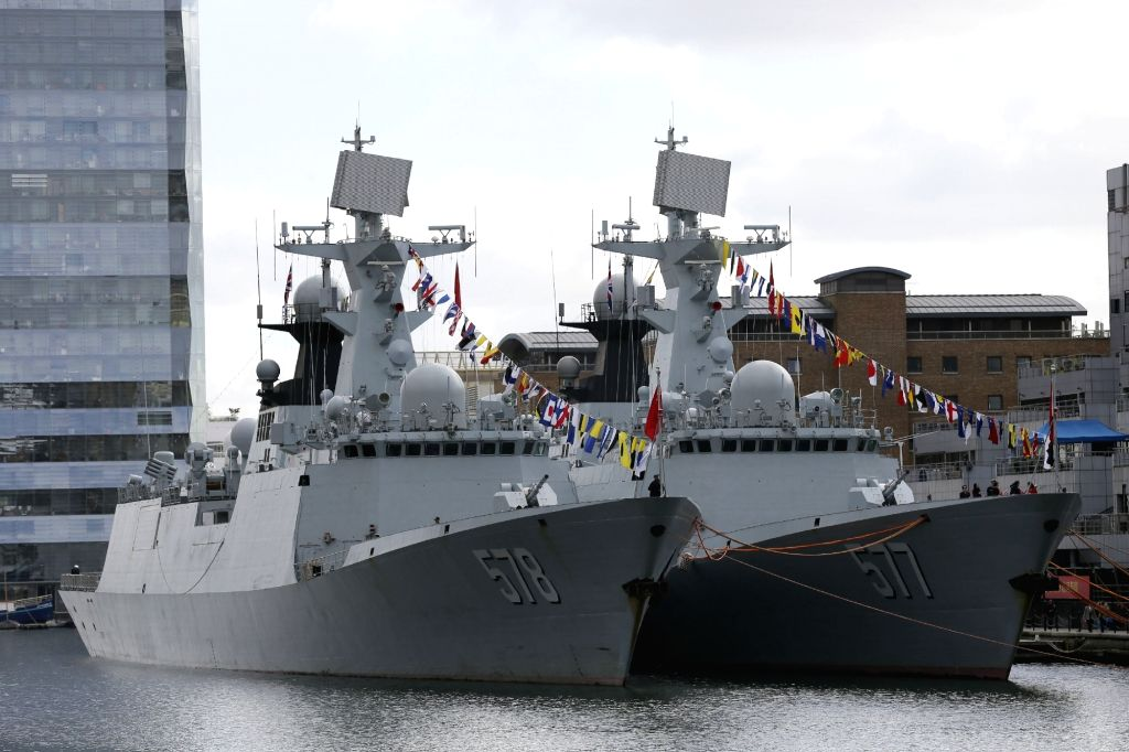 LONDON, Oct. 4, 2017 - Chinese naval guided-missile frigates Huanggang (R) and Yangzhou are seen in London, Britain, on Oct. 3, 2017. China's 26th naval escort fleet arrived here Tuesday for a ...