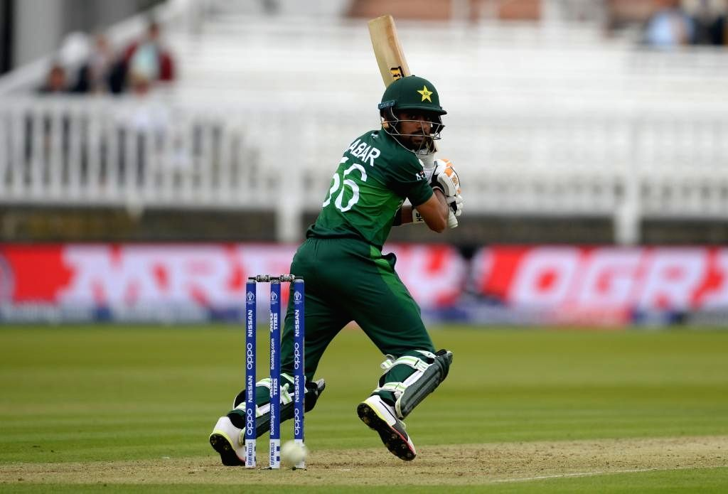 London: Pakistan's Babar Azam in action during the 30th match of 2019 World Cup between South Africa and Pakistan at Lord's Cricket Ground in London, England on June 23, 2019. (Photo Credit: Twitter/@ICC)