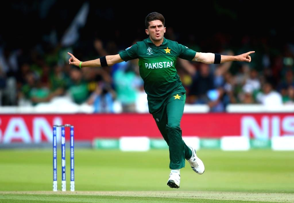 London: Pakistan's Shaheen Shah Afridi in action during the 43rd match of 2019 World Cup between Bangladesh and Pakistan at Lord's Cricket Ground in London, England on July 5, 2019. (Photo Credit: Twitter/@cricketworldcup) - Shaheen Shah Afridi