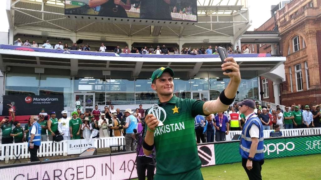 London: Pakistan's Shaheen Shah Afridi pose with his man of the match trophy after the 43rd match of 2019 World Cup against Bangladesh at Lord's Cricket Ground in London, England on July 5, 2019. (Photo Credit: Twitter/@cricketworldcup) - Shaheen Shah Afridi