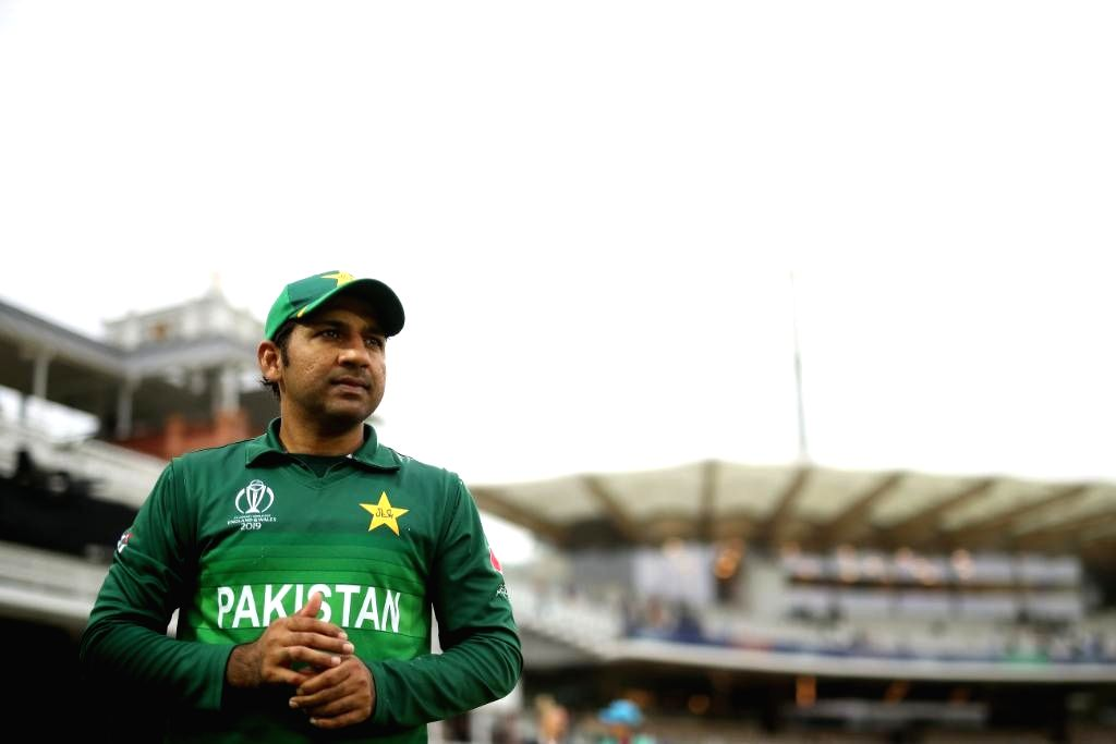 London: Pakistan's skipper Sarfaraz Ahmed during the 27th match of 2019 World Cup between Bangladesh and Pakistan at Lord's Cricket Ground in London, England on July 5, 2019. (Photo Credit: Twitter/@cricketworldcup)
