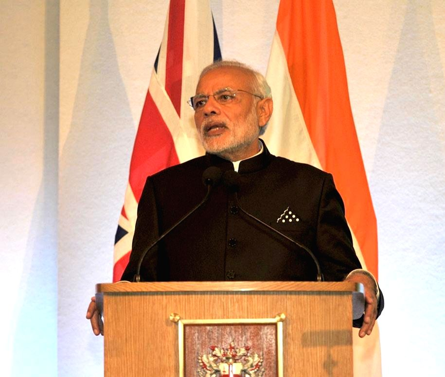 : London: Prime Minister Narendra Modi addresses the City of London at Indo-UK Business Meeting in The Old Library, at Guildhall, London on Nov 12, 2015. (Photo: IANS/PIB). - Narendra Modi