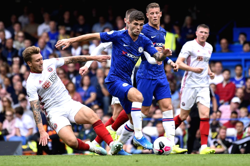 LONDON, Sept. 1, 2019 - Christian Pulisic (C) of Chelsea vies with Luke Freeman (1st L) of Sheffield United during the English Premier League match between Chelsea and Sheffield United at Stamford ...