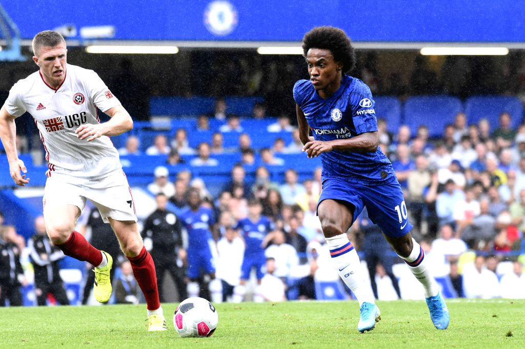 LONDON, Sept. 1, 2019 - Willian (R) of Chelsea vies with John Lundstram of Sheffield United during the English Premier League match between Chelsea and Sheffield United at Stamford Bridge in London, ...
