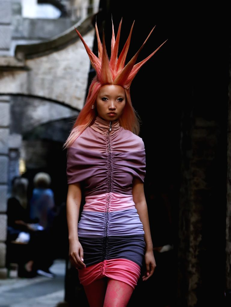 LONDON, Sept. 14, 2019 - A model presents a creation of Fyodor Golan at Somerset House during the London Fashion Week in London, Britain, Sept. 14, 2019.