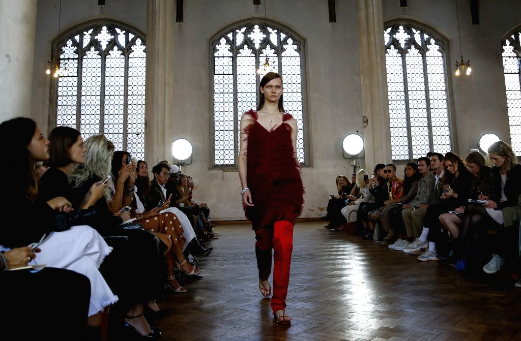 LONDON, Sept. 14, 2019 - A model walks the runway at the Sharon Wauchob show during the London Fashion Week in London, Britain, on Sept. 14, 2019.