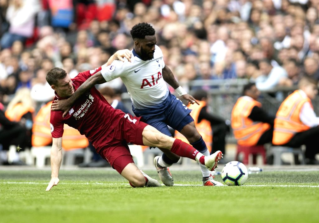 LONDON, Sept. 15, 2018 - Liverpool's James Milner (L) vies with Tottenham Hotspur's Danny Rose during the English Premier League match between Tottenham Hotspur and Liverpool at the Wembley Stadium ...