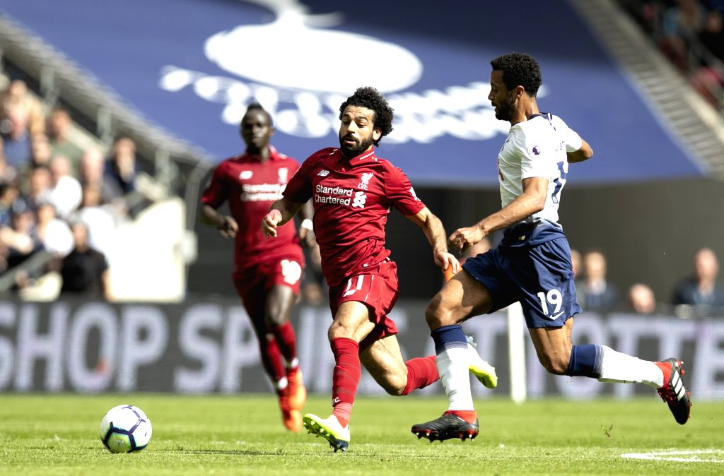 LONDON, Sept. 15, 2018 - Liverpool's Mohamed Salah (C) vies with Tottenham Hotspur's Mousa Dembele (R) during the English Premier League match between Tottenham Hotspur and Liverpool at the Wembley ...