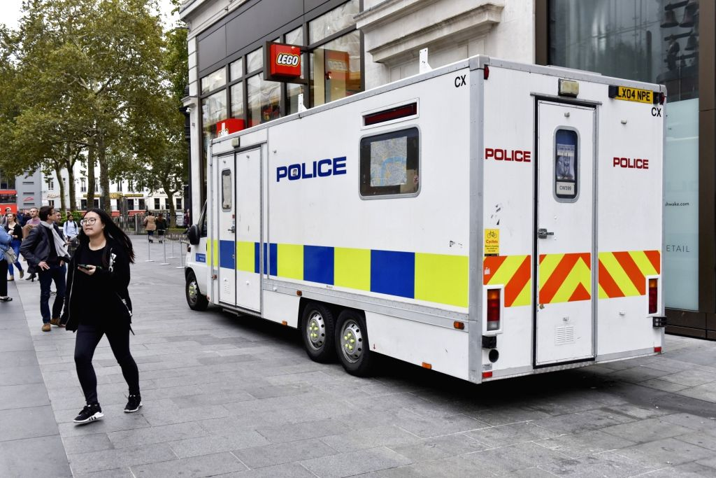 LONDON, Sept. 16, 2017 - A police vehicle patrols on a street in London, Britain on Sept. 16, 2017. British Prime Minister Theresa May said Friday that the terror threat level is raised to critical, ... - Theresa May