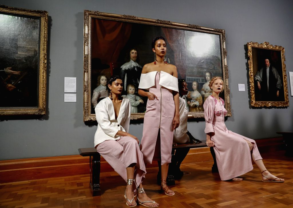 LONDON, Sept. 20, 2017 - Models present Tata Naka creations of Spring/Summer Collection 2018 during London Fashion Week at National Portrait Gallery in London, Britain, on Sept. 19, 2017.