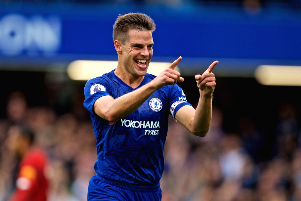 LONDON, Sept. 23, 2019 - Chelsea's Cesar Azpilicueta celebrates scoring a goal only for it to be ruled out after a VAR review during the English Premier League match between Chelsea and Liverpool at ...