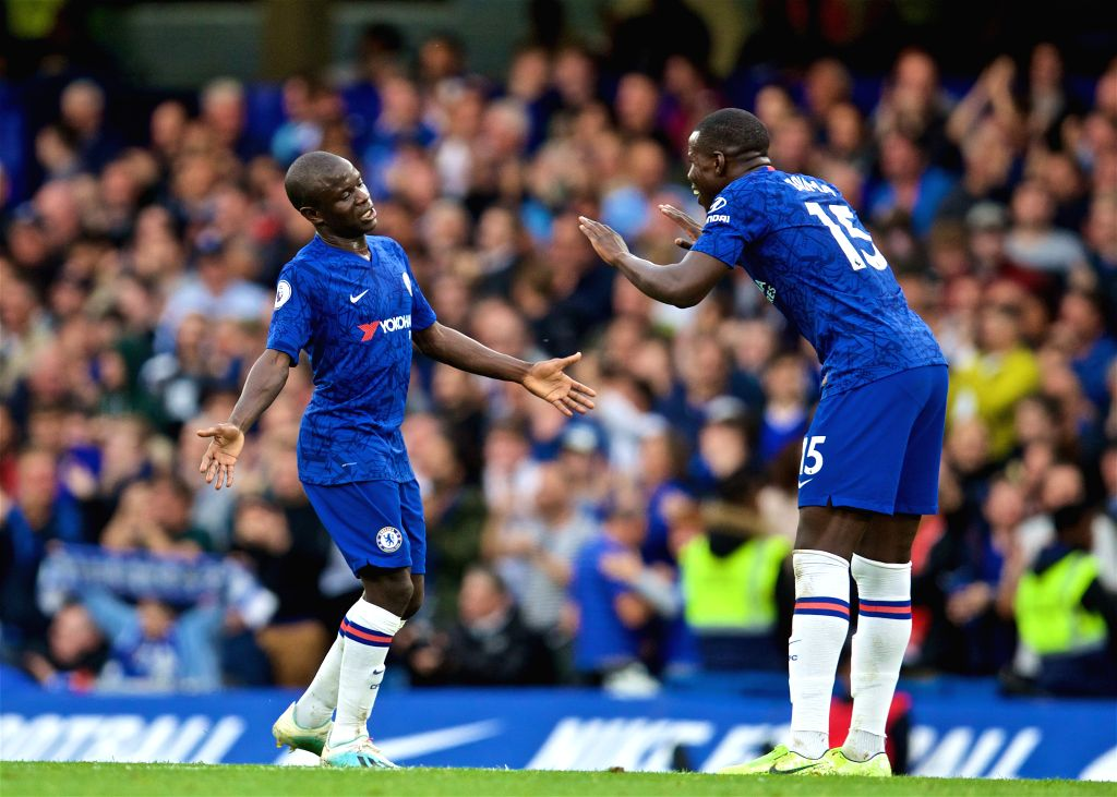 LONDON, Sept. 23, 2019 - Chelsea's N'Golo Kante (L) celebrates with teammate Kurt Zouma after scoring a goal during the English Premier League match between Chelsea and Liverpool at Stamford Bridge ...