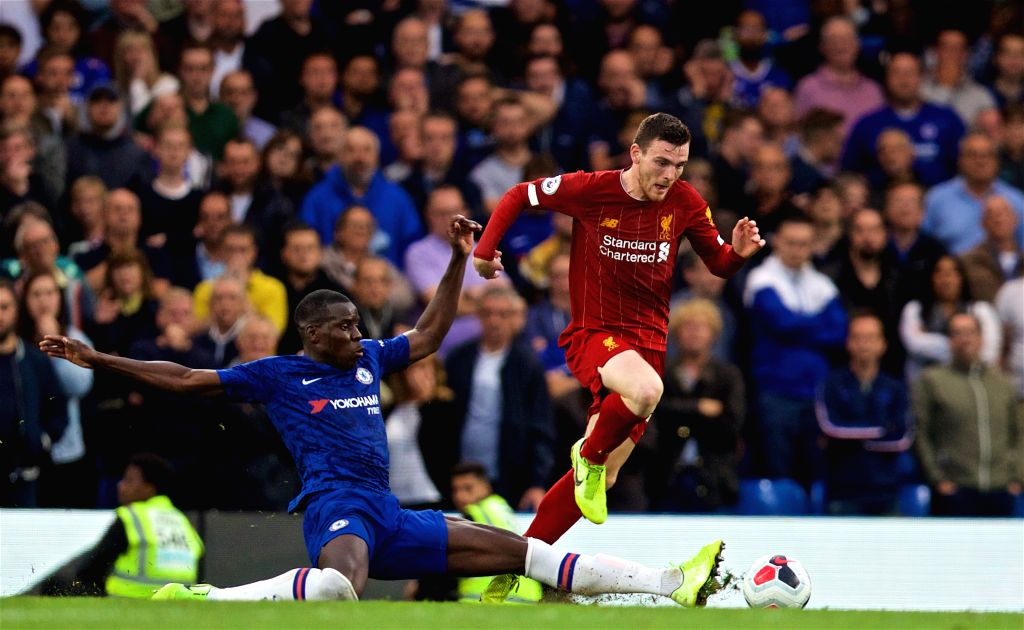 LONDON, Sept. 23, 2019 - Liverpool's Andrew Robertson (R) gets away from Chelsea's Fikayo Tomori during the English Premier League match between Chelsea and Liverpool at Stamford Bridge in London, ...