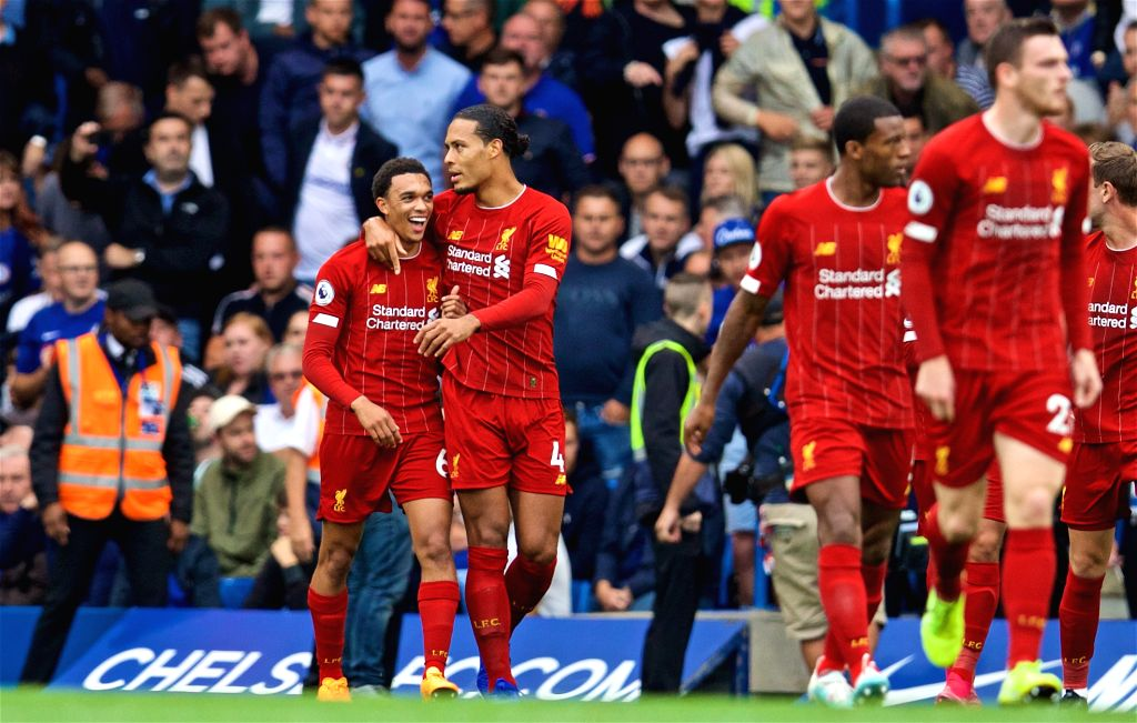 LONDON, Sept. 23, 2019 - Liverpool's Trent Alexander-Arnold (1st L) celebrates with teammates during the English Premier League match between Chelsea and Liverpool at Stamford Bridge in London, ...