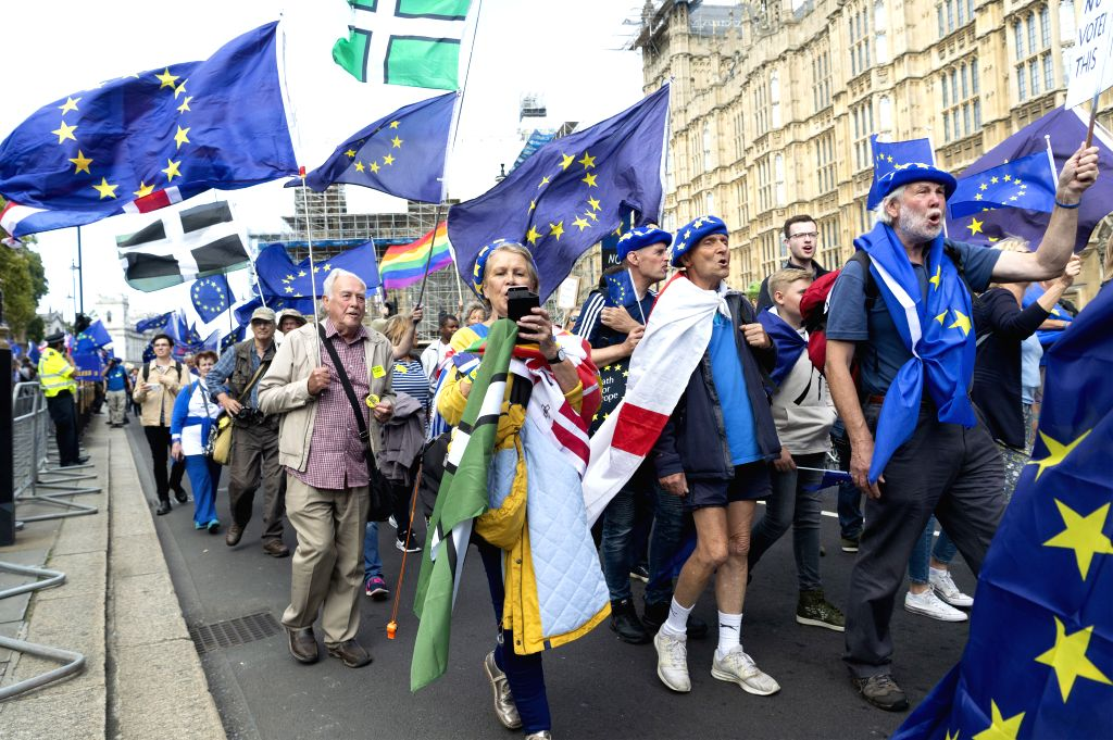 LONDON, Sept. 3, 2019 - Anti-Brexit protesters take part in a demonstration in London, Britain, on Sept. 3, 2019. British Prime Minister Boris Johnson on Tuesday lost a key Brexit vote in the House ... - Boris Johnson