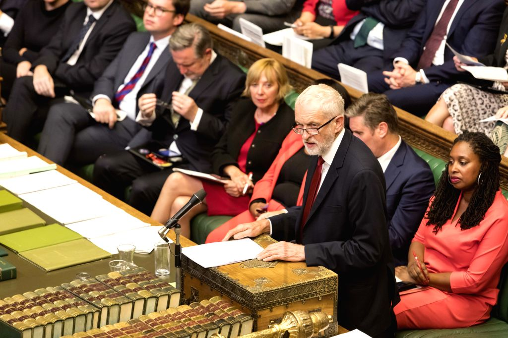 LONDON, Sept. 3, 2019 - British Labor Party er Jeremy Corbyn (Front) speaks in the House of Commons in London, Britain, on Sept. 3, 2019. British Prime Minister Boris Johnson on Tuesday lost a ... - Boris Johnson