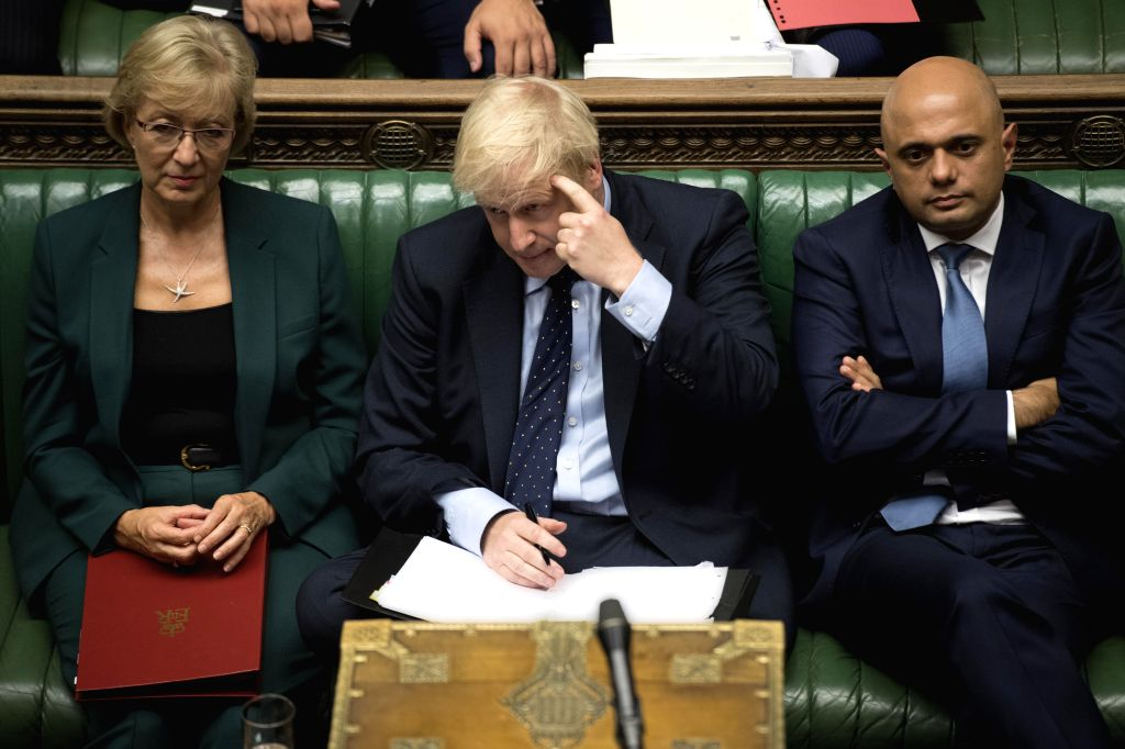 LONDON, Sept. 3, 2019 - British Prime Minister Boris Johnson (Front) gestures in the House of Commons in London, Britain, on Sept. 3, 2019. British Prime Minister Boris Johnson on Tuesday lost a key ... - Boris Johnson