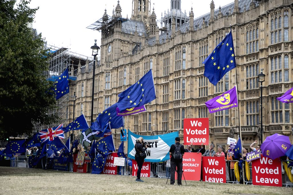 LONDON, Sept. 3, 2019 - Demonstrators gather outside the Houses of Parliament in London, Britain on Sept. 3, 2019. Rebel Tory members of the British parliament are poised to join their colleagues ... - Boris Johnson