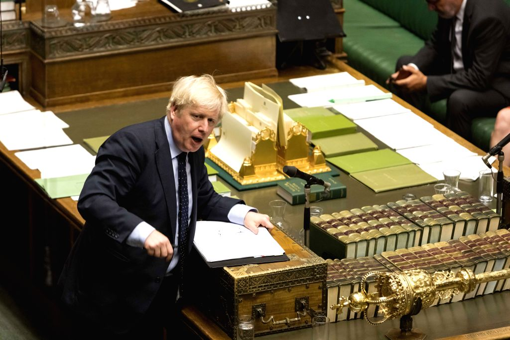 LONDON, Sept. 3, 2019 (Xinhua) -- British Prime Minister Boris Johnson speaks in the House of Commons in London, Britain, on Sept. 3, 2019. British Prime Minister Boris Johnson on Tuesday lost a key Brexit vote in the House of Commons as anti-no deal - Boris Johnson