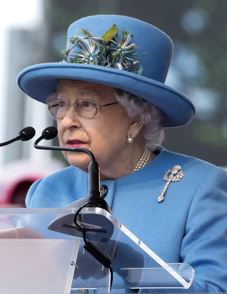 LONDON, Sept. 4, 2017 - Britain's Queen Elizabeth II speaks during the official opening ceremony for the Queensferry Crossing, a new road bridge spanning the Firth of Forth from Queensferry to North ...