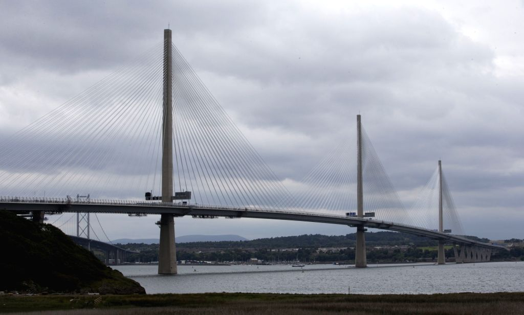 LONDON, Sept. 4, 2017 - Photo taken on Sept. 3, 2017 shows the Queensferry Crossing, a new road bridge spanning the Firth of Forth from Queensferry to North Queensferry, in Queensferry, west of ...