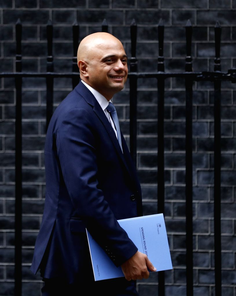 LONDON, Sept. 4, 2019 - Britain's Chancellor of the Exchequer Sajid Javid leaves 11 Downing Street in London, Britain, on Sept. 4, 2019. Britain's Chancellor of the Exchequer Sajid Javid on Wednesday ...