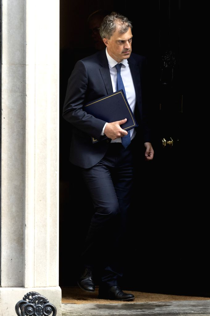 LONDON, Sept. 4, 2019 - British Secretary of State for Northern Ireland Julian Smith leaves 10 Downing Street after a cabinet meeting in London, Britain, on Sept. 4, 2019. British lawmakers on ... - Boris Johnson