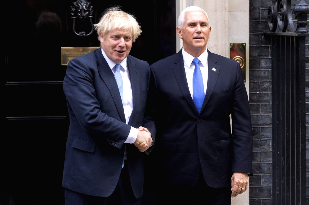 LONDON, Sept. 5, 2019 - British Prime Minister Boris Johnson (L) greets U.S. Vice President Mike Pence at 10 Downing Street in London, Britain, on Sept. 5, 2019. British Prime Minister Boris Johnson ... - Boris Johnson