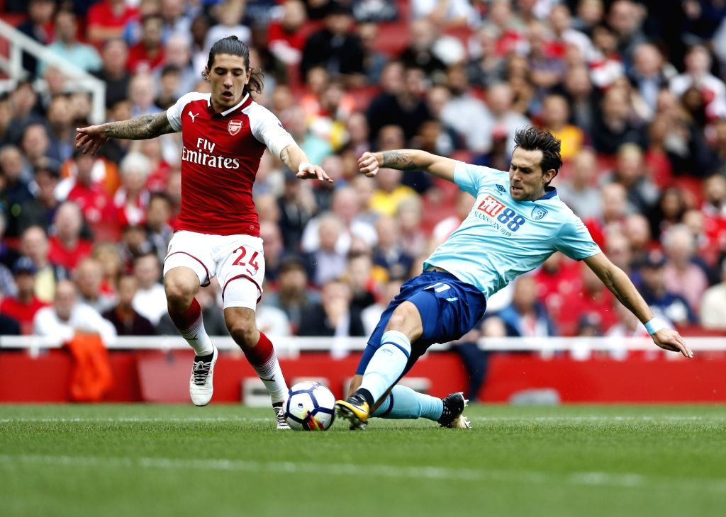 LONDON, Sept. 9, 2017 - Hector Bellerin (L) of Arsenal vies with Charlie Daniels of Bournemouth during the English Premier League match between Arsenal and Bournemouth at the Emirates Stadium in ...