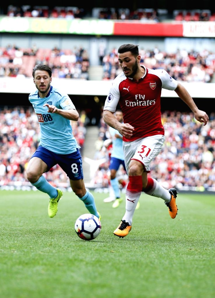 LONDON, Sept. 9, 2017 - Sead Kolasinac (R) of Arsenal breaks through during the English Premier League match between Arsenal and Bournemouth at the Emirates Stadium in London, Britain on Sept. 9, ...