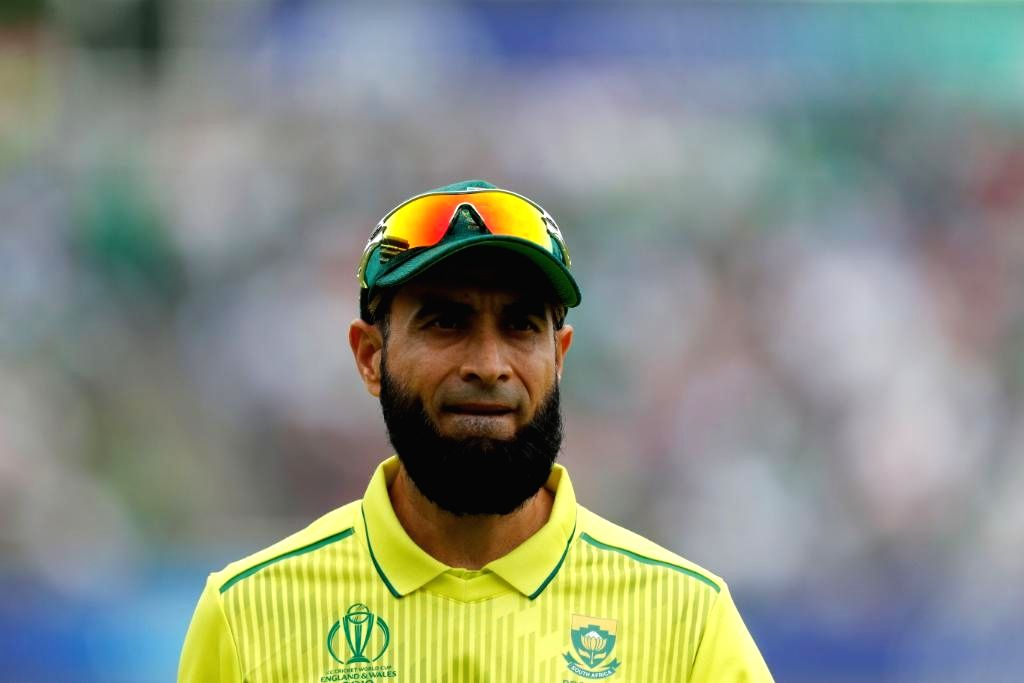 London: South Africa's Imran Tahir during the 30th match of 2019 World Cup between South Africa and Pakistan at Lord's Cricket Ground in London, England on June 23, 2019. (Photo Credit: Twitter/@ICC)