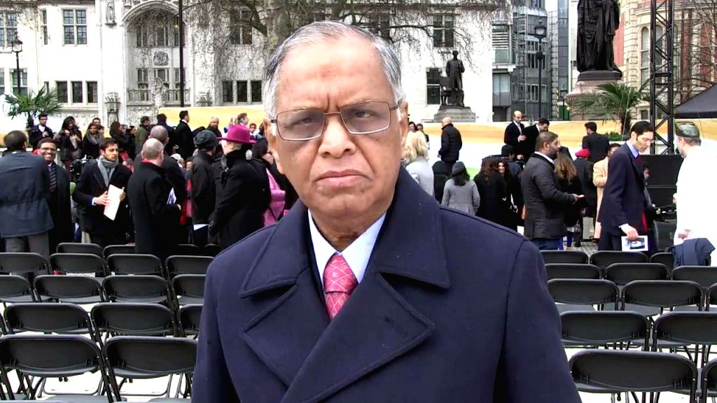London (UK): Infosys co-founder NR Narayana Murthy during a programme organised to unveil a nine feet high bronze statue of Mahatma Gandhi at the Parliament Square in London, UK on March 14, 2015.