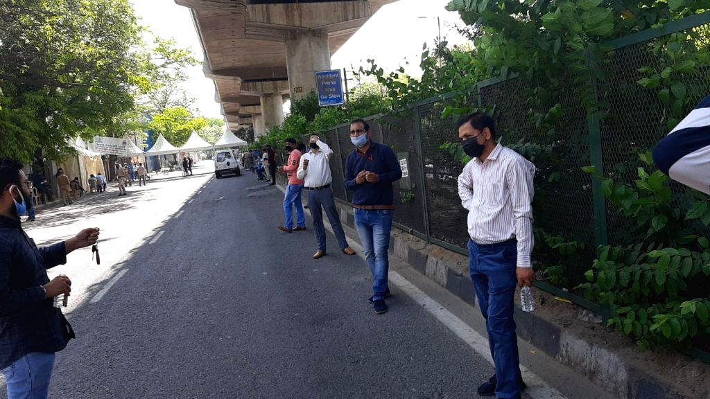 Long queues of journalists in Patel Nagar for Covid-19 test.