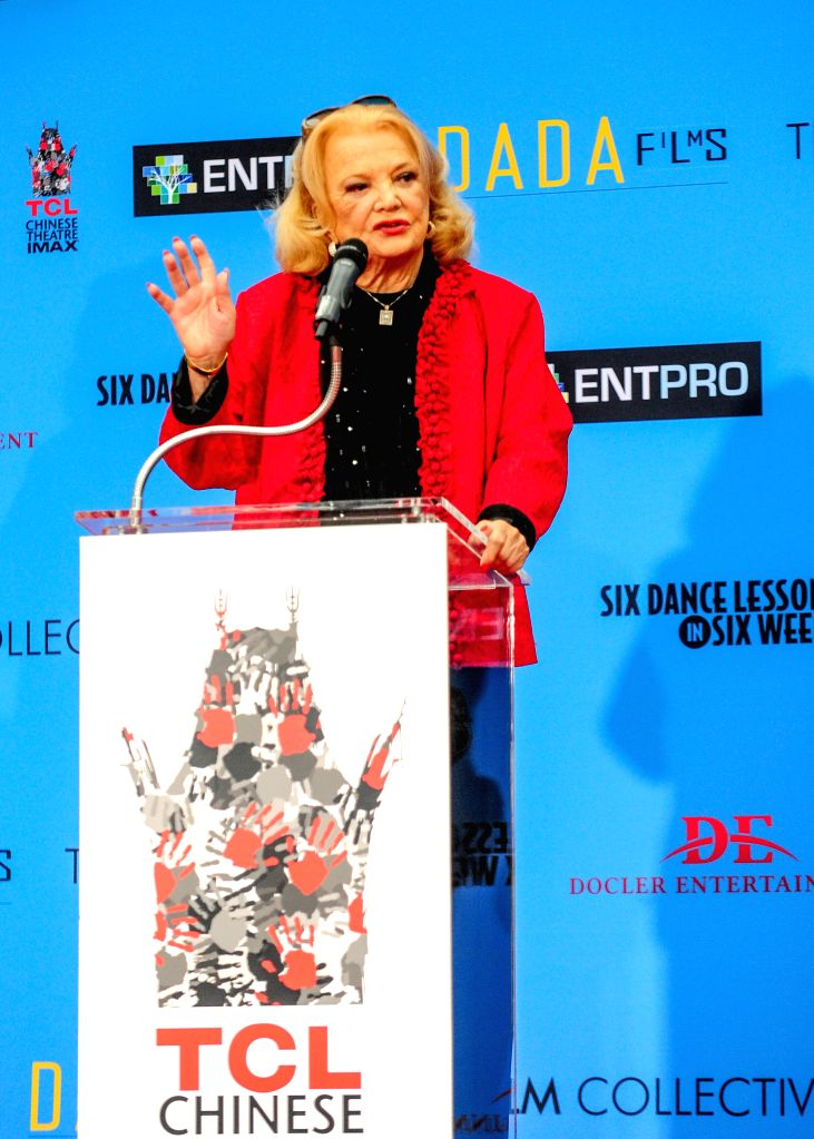 Los Angeles: American actress Gena Rowlands attends her hand and footprint ceremony outside the TCL Chinese Theater in Hollywood, the United States, Dec. 5, 2014.