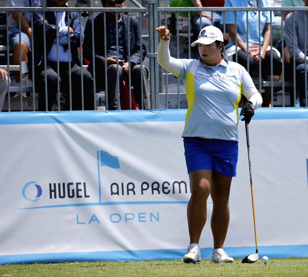 LOS ANGELES, April 27, 2019 - Feng Shanshan of China competes during the second round of the Hugel-Air Premia LA Open LPGA golf tournament in Los Angeles, the United States, on April 26, 2019.