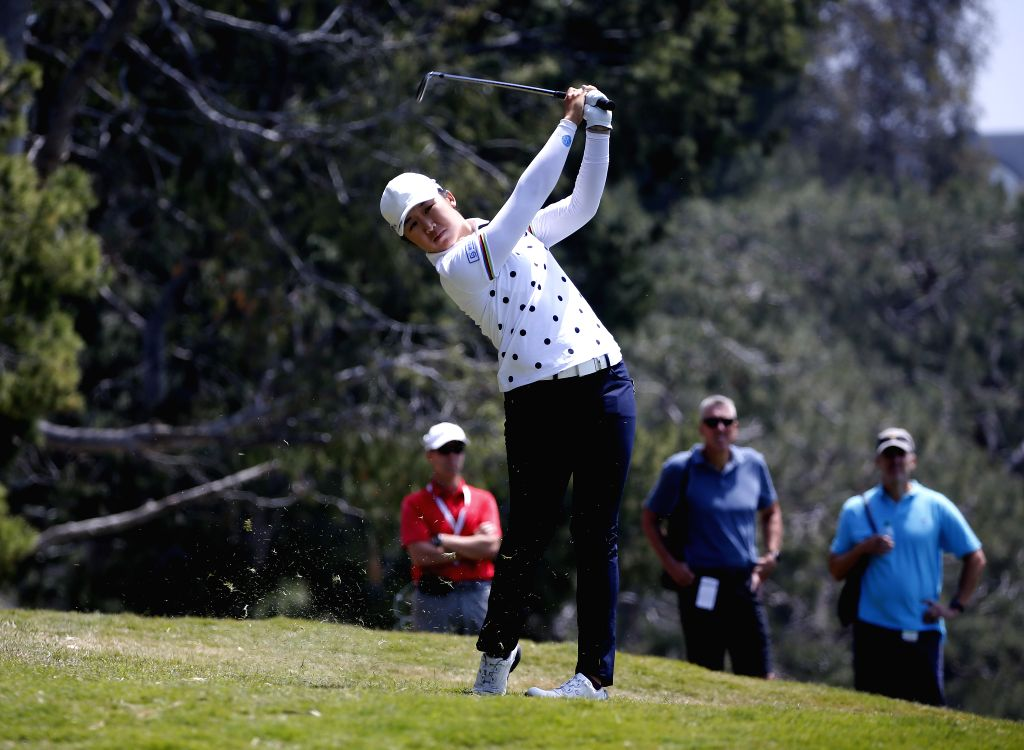 LOS ANGELES, April 27, 2019 - Yan Jing of China competes during the second round of the Hugel-Air Premia LA Open LPGA golf tournament in Los Angeles, the United States, on April 26, 2019.